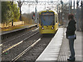 SJ8196 : Metrolink Tram Approaching Trafford Bar by David Dixon