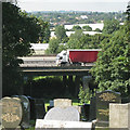 SP0891 : A glimpse of the M6 motorway from Witton Cemetery by Robin Stott