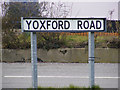 TM4368 : Yoxford Road sign by Adrian Cable