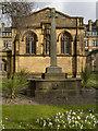 SJ8398 : Stone Cross Outside the South Porch of Manchester Cathedral by David Dixon