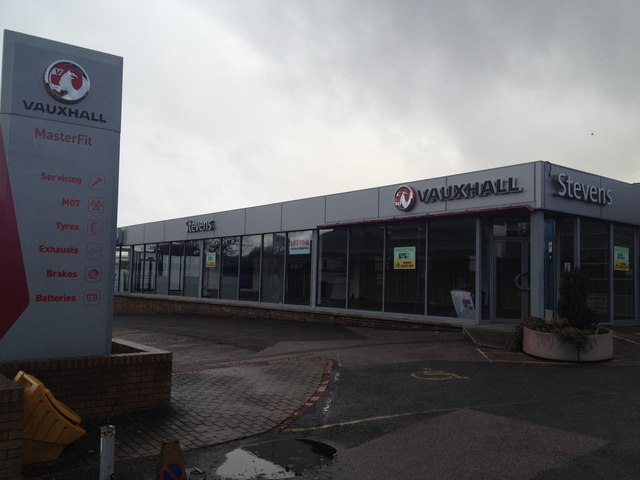 former stevens vauxhall car dealership stacey harris cc by sa 2 0 geograph britain and. Black Bedroom Furniture Sets. Home Design Ideas