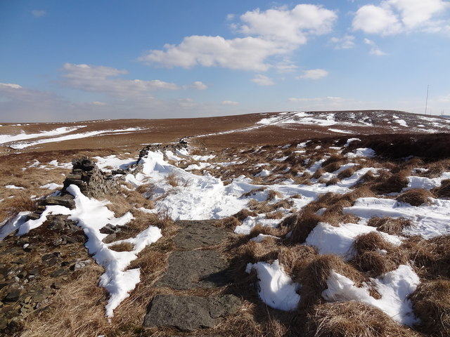 Snow on the path towards Winter Hill