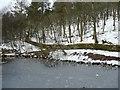 SE0631 : Ice on a silt trap pond, Ogden Reservoir by Humphrey Bolton