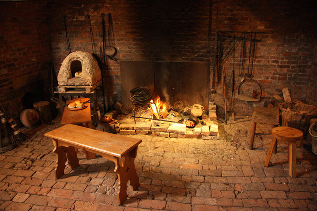 Medieval kitchen fireplace