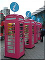 TQ3884 : Stratford: information booths at the station by Chris Downer