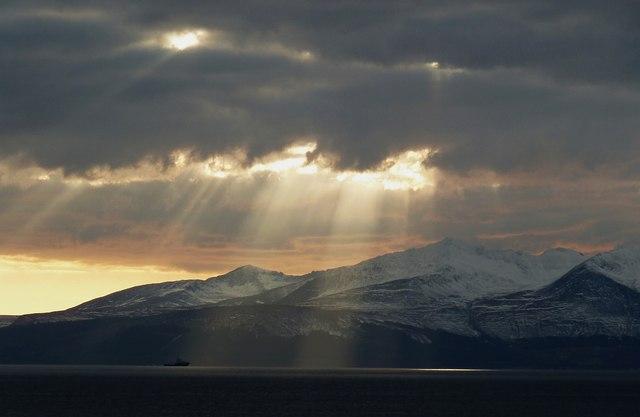 Shafts of sunlight over Goatfell