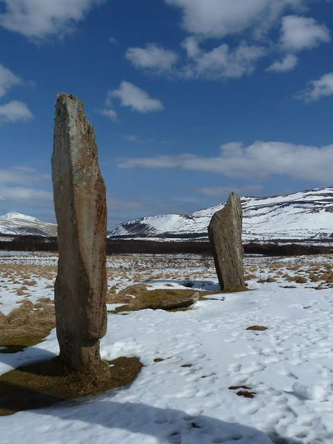 Standing stones in the snow