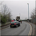 SK5538 : Temporary traffic lights at Lenton Lane railway bridge by John Sutton