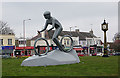 TQ8087 : The Cyclist Statue at Hadleigh Roundabout by John Rostron