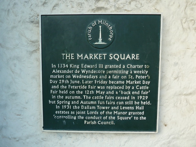 Plaque, The Square, Milnthorpe