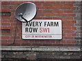TQ2878 : Street sign, Avery Farm Row SW1 by R Sones