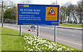 J3683 : Road construction contract sign, Whiteabbey/Jordanstown (2013) by Albert Bridge