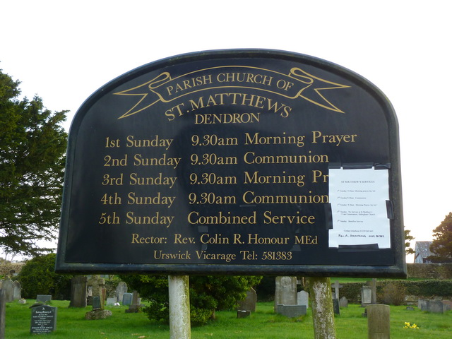 St Matthews Church, Dendron, Nameboard