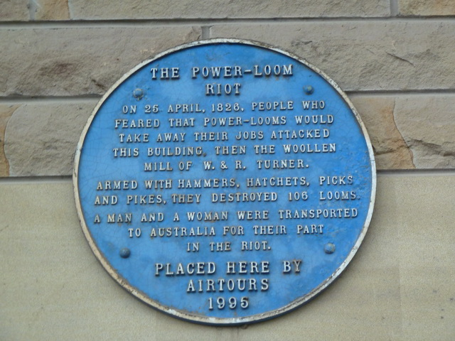 Plaque, The Power-Loom Riot