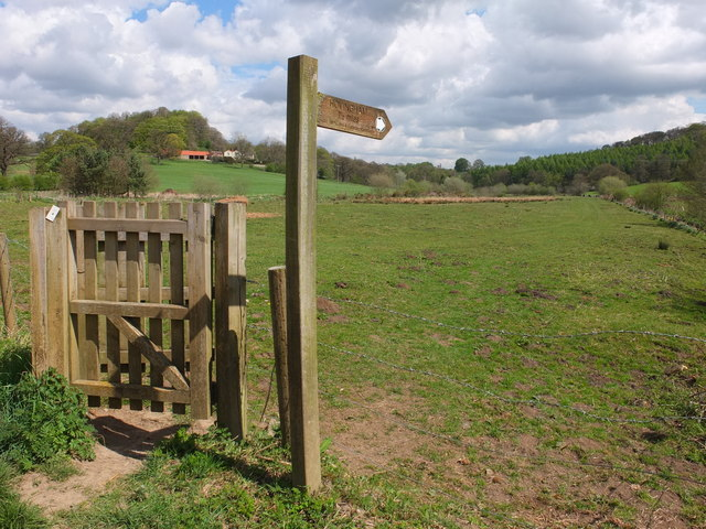 A kissing gate giving access to the footpath leading towards Hovingham
