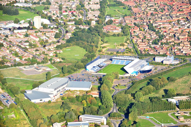 Aerial view of Kassam Stadium, Oxford