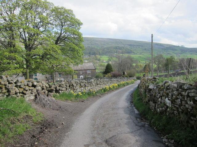 Moorland road leading into Grinton