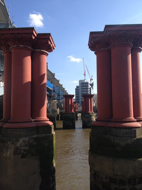 The red pillars of the now demolished 1864 Blackfriars railway bridge