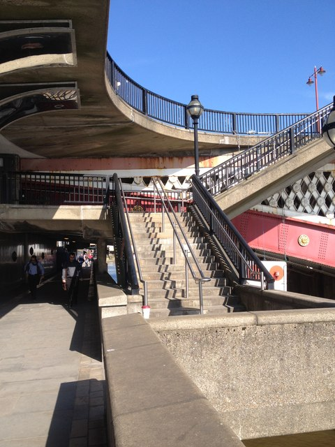 Stairs to get up to Blackfriars Bridge, from the riverside path