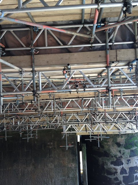 Scaffolding, under Blackfriars Bridge