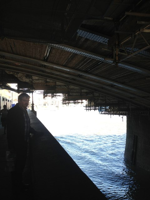 Riverside path, the underneath of Blackfiars Bridge, husband and the Thames,