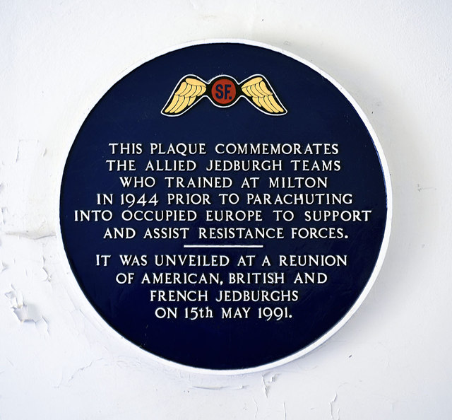 Plaque to commemorate the Allied Jedburgh Teams, Milton Hall, Peterborough