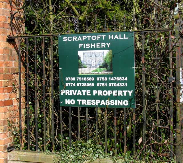 Sign at entrance to Scraptoft Hall