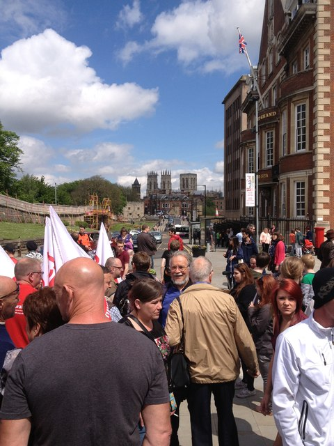 Anti EDL / fascist demonstration in York at the Rail Workers Memorial