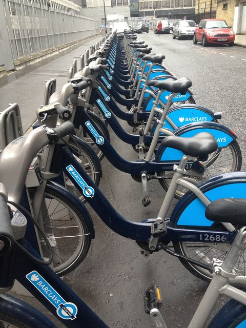 A full rack of Boris Bikes, Abbey Orchard Street, London