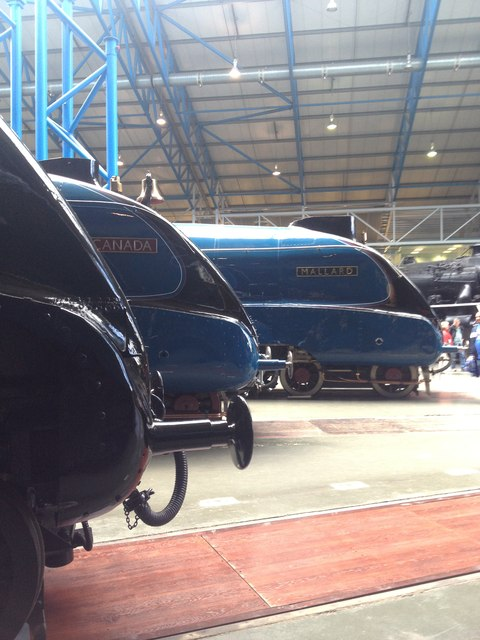 Three of the A4 locomotives in the National Railway Museum