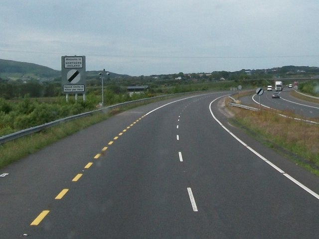 New Northern Ireland Border Sign on the N1/A1/EO1 at Meigh