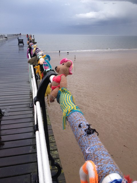 Knitted figures, Saltburn-by-the-Sea Pier