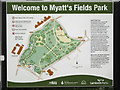 TQ3176 : Myatt's Fields Park welcome sign by Robin Stott