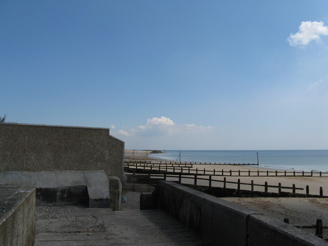 Sea defences and private gardens along Middleton beach