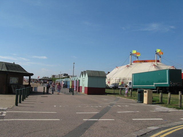 Beach huts and Zippo's Circus by the King Alfred