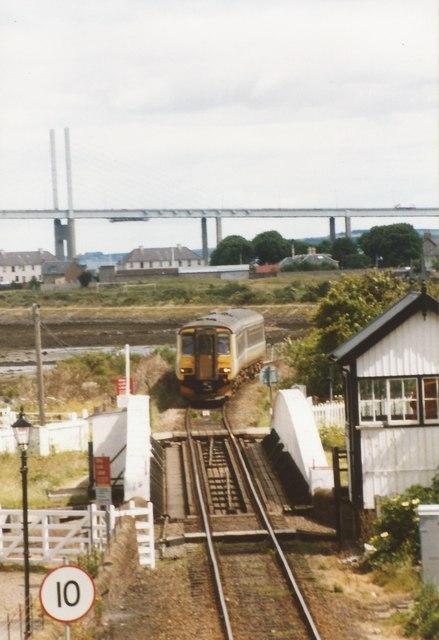 Railway swing bridge across the Caledonian Canal