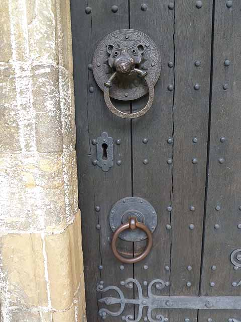 Reproduction knocker on the door of Adel Church