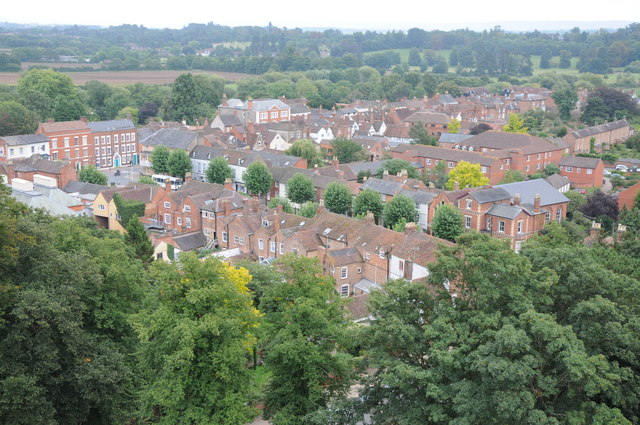 View over centre of Pershore from the Abbey tower