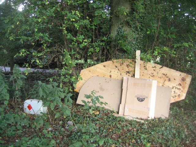 Secluded lane - fly tipping