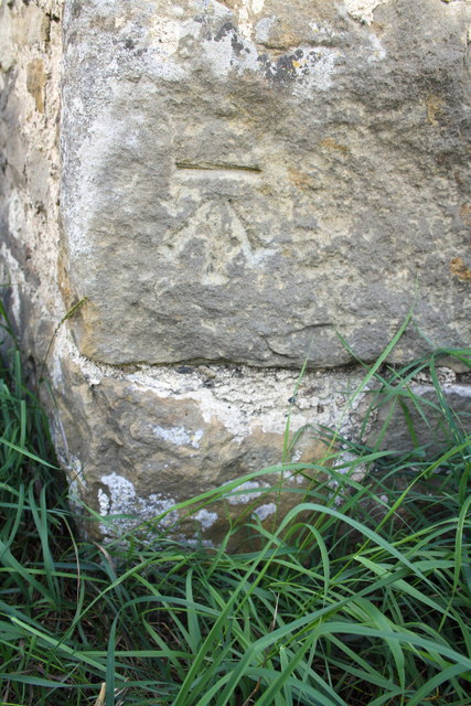 Benchmark on barn at Low Hall