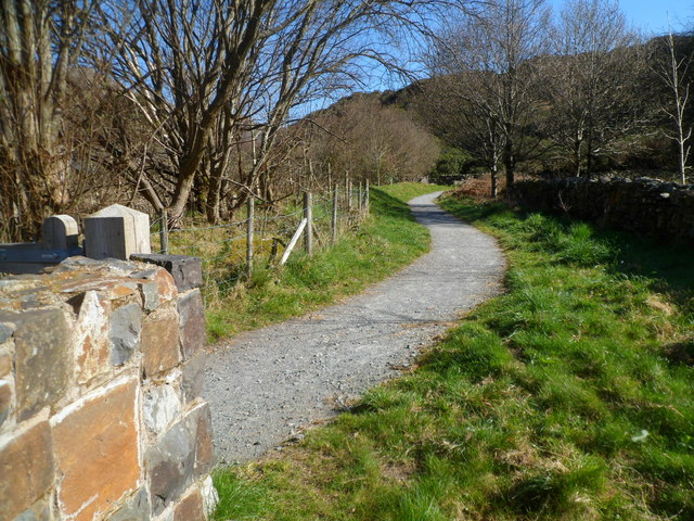 Path along a bank of Afon Glaslyn in Beddgelert