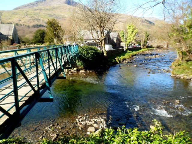 Footbridge at a river confluence in Beddgelert