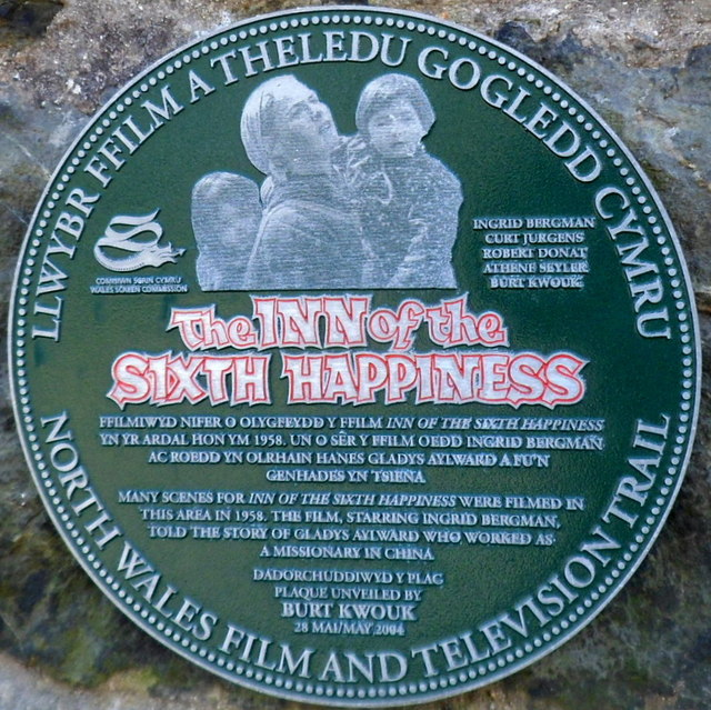 The Inn of the Sixth Happiness plaque in Beddgelert