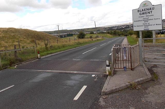 Sheep grid at the Blaenau Gwent boundary east of Brynmawr