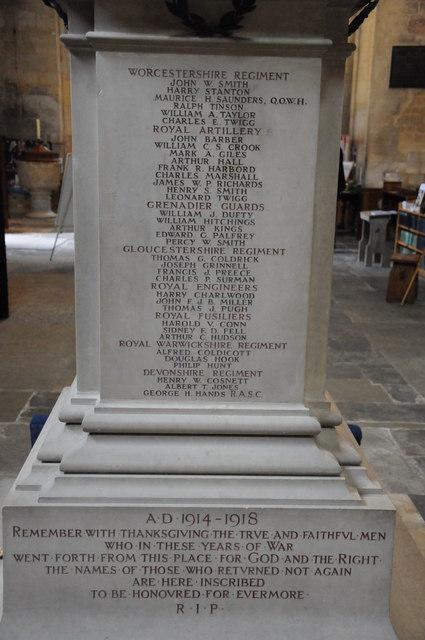 War Memorial names, Pershore Abbey