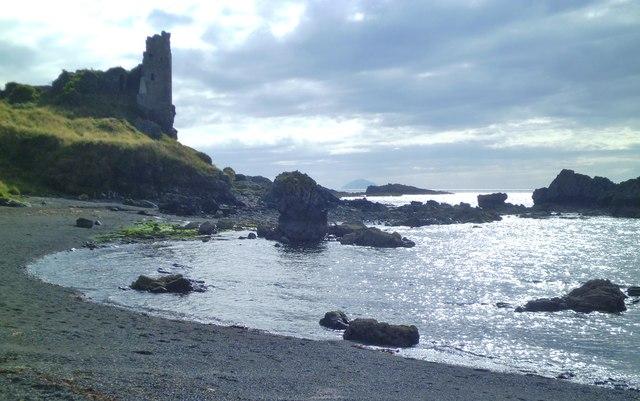Dunure beach and castle