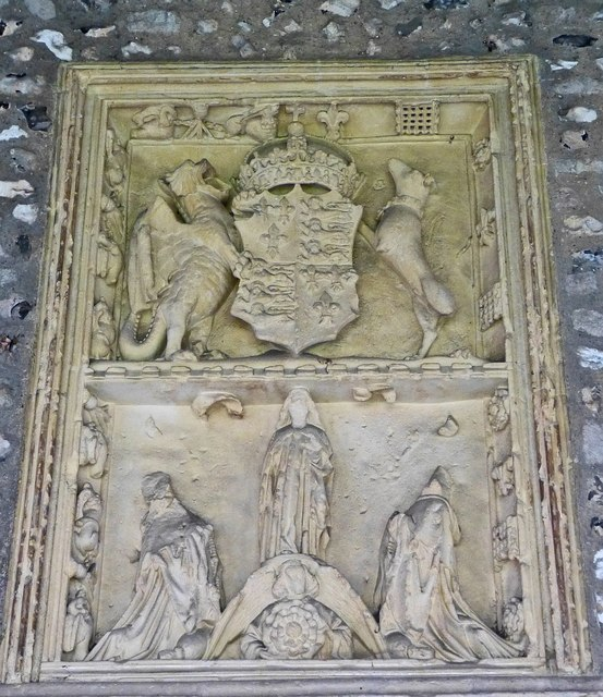 Royal Arms of Henry VII plaque in the cloisters