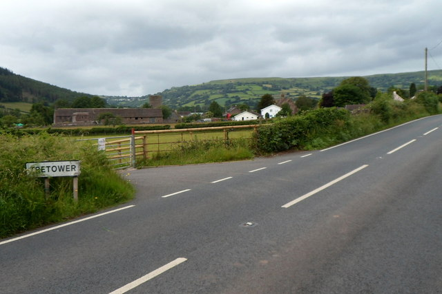 SE boundary of Tretower
