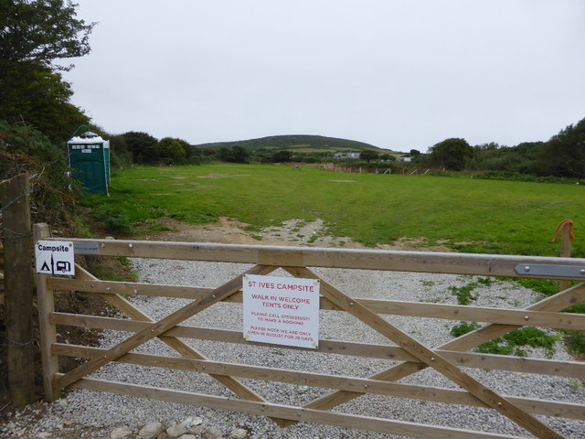 The camping field at St Ives Campsite