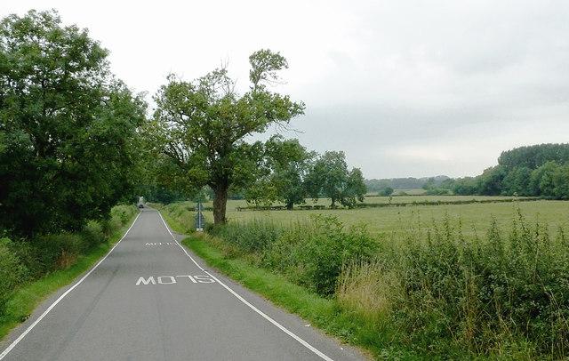 Kibworth Road and farmland near Fleckney, Leicestershire
